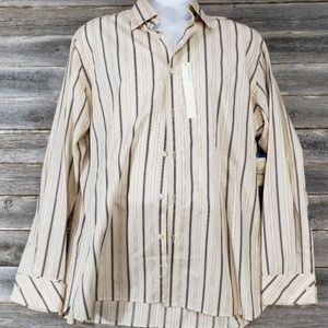 Perry Ellis Striped Button Front Striped Shirt